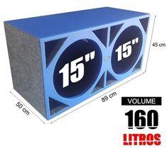 "caixa full box azul 2 x 15"" pelego box 160 litros Subwoofer Box Design, Speaker Box Design, Audio Amplifier, Audiophile, Woofer Speaker, Speakers, Speaker Plans, Cabinet Plans, Dj Equipment"