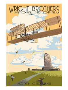 Outer Banks, North Carolina - Wright Brothers National Memorial - Lantern Press Artwork (Art Print Available), Multi Outer Banks North Carolina, North Carolina Homes, North Carolina Tattoo, Wright Brothers, National Park Posters, Art Deco, Poster Prints, Art Prints, American History