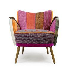 Patchwork design armchair, boho style furniture