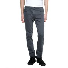 - 98% cotton and 2% spandex denim in rinsed playa. - Multi-pocket construction. - Slouch-cut sits below the waist. - Contrast stiching. - Zip fly with single button closure. - Close fit around seat an