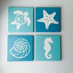 Items similar to Set of 4 Nautical Canvas Paintings // Nautical Nursery Decor // Monogram // Custom Decor // Childrens Decor // Tropical Decor // Silhouettes on Etsy Nautical Canvas, Nautical Nursery Decor, Nursery Neutral, Nursery Themes, Nursery Ideas, Room Ideas, Diy Art Projects Canvas, Diy Canvas, Beach Crafts