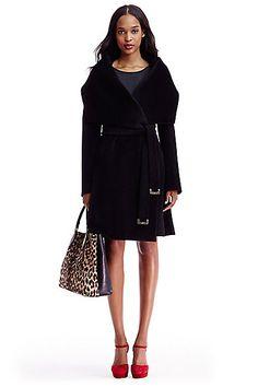 Harlow Draped Wool Coat in in Black
