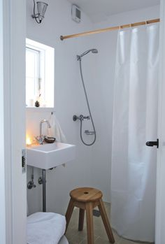 Great solution for small space. Wet room.