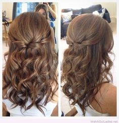 Half Up Half Down Hair with Curls - Prom Hairstyles for Medium Length Hair (Wedding Hair Medium Length)