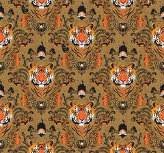 Victoria Topping Illustration: Cool tiger print by Victoria Topping.  Good choice of neutral colors in contrast to the bright accents.