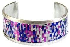 Grape Soda cans - cut in strips and woven together to create this beautiful weave cuff bracelet from Cangles
