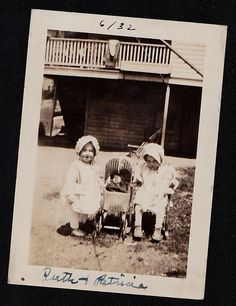 Antique Photograph Two Adorable Babies With Bonnets & Doll Carriage in Backyard