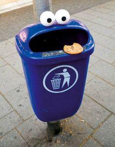 Cookie monster bin - http://jokideo.com/cookie-monster-bin/
