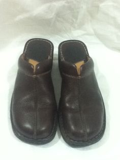 134d1785c12f Born Women s Dark Brown Leather Clogs Mules Wedges Shoes Size 10 M W Wide