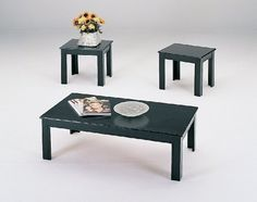 Acme 02168BK 3-Piece Calico Coffee/End Table Set, Black by ACME. $118.99. Contemporary in style. Calico collection 3 piece coffee and end table set. Coffee table measures 48-inch width by 24-inch depth by 15-inch height. Comes with black finish. End table measures 22-inch length by 18-inch width by 19-inch height. This Calico collection 3-piece coffee and end table set includes 2 end tables and coffee table. Contemporary in style. Coffee table measures 48-inch width b...