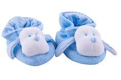 Warm anti-slip baby sleepers shoes. So warm and cute!! Quentinho e fofo http://maisonbaby.com/pantufa-atoalhada-listrada-azul-511.html