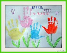 BONNE FETE MAMIE ! Champs de fleurs avec les mains de vos enfants :)