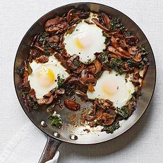 Mushroom and Kale Ragout with Poached Eggs #recipe