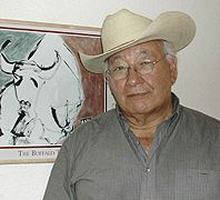 N. Scott Momaday, Pulitzer Prize winner, 1969, House Made of Dawn, and poet, play writer, screen writer and painter. Born in Lawton, Oklahoma he is the founder of Buffalo Trust, a non-profit org.that supports cultural heritage programs in Native American Communities.  He is of Kiowa descent  and an Oklahoma treasure.