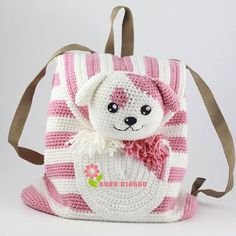 ideas for crochet kids purse girls Crochet Backpack, Bag Crochet, Crochet Handbags, Crochet Purses, Crochet Stitches, Kids Knitting Patterns, Baby Patterns, Crochet Patterns, Mochila Crochet