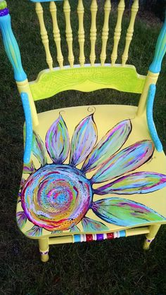 Yellow Flower chair by Carolyn's Funky Furniture … furniture bohemian c. Yellow Flower chair by Carolyn's Funky Furniture … furniture bohemian colorful chairs Th Whimsical Painted Furniture, Hand Painted Chairs, Hand Painted Furniture, Funky Furniture, Refurbished Furniture, Repurposed Furniture, Furniture Projects, Furniture Makeover, Garden Furniture