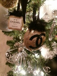 Glittered Chanel ornaments