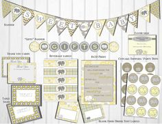 Gray and Yellow Elephant Baby Shower Decorations DIY: Gender Neutral Baby Shower Ideas