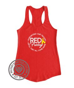 Red Friday Tank top. Yellow Ribbon. Until by MilitaryHeartTees