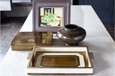 Eglomise Tray - Gold with Brass
