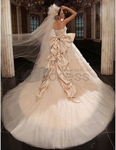 Wedding Dresses 2013-A-line Cathedral Train Tulle Satin Wedding Dress