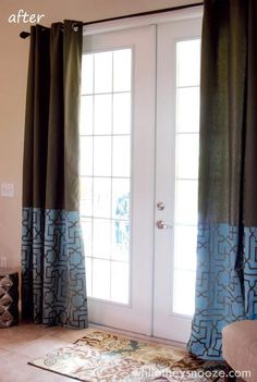 Our Moroccan Key Stencil on living room curtains! Fab contemporary effect created by the lovely Sarah of While They Snooze. http://whiletheysnooze.blogspot.com/2013/04/stenciled-curtains-tutorial-royal.html