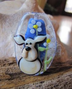 By Bageegle Moon A Handmade Lampwork Dog With Spring Flowers Focal Bead  SRA