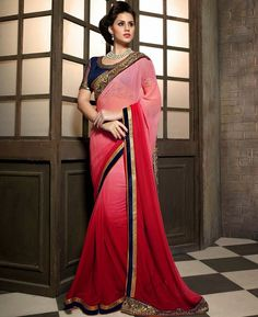 https://www.a1designerwear.com/unique-red-rose-pink-georgette-saree
