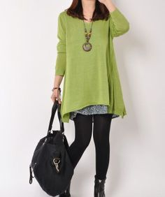 Light Green cotton sweater/sweater dress/cotton dress large knitted sweater Hoodie loose sweater blouse plus size sweater tops cotton blouse...