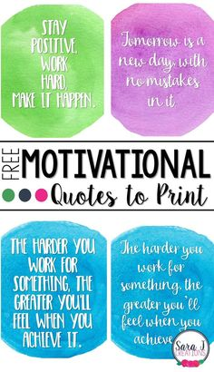 Sometimes you just need some positive motivational quotes to get you going.  Here are 3 free printable quotes for you!
