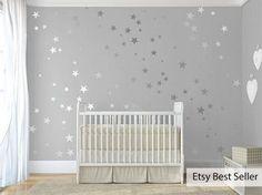 120 Silver Metallic Stars Nursery Wall Decals/Wall Stickers, Babies Wall Art Decal , Vinyl, Wedding, Wallpaper Art Decor