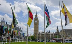 The flags in Parliament Square, London, have been blowing more vigorously today