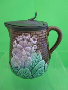 Antique Majolica Primrose Syrup w/ Pewter Lid