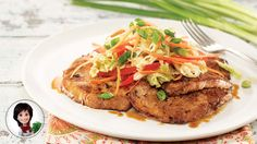 Pork cutlets with korean coleslaw from Josée di Stasio Pork Cutlets, Pork Dishes, Salmon Burgers, Steak, Asian, Beef, Chicken, Ethnic Recipes, Coleslaw