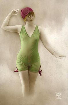 bathing suit - 1920's  postcard (tinted)