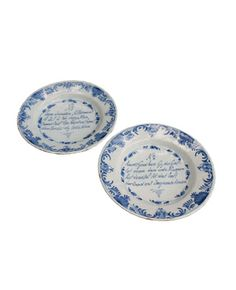 "A Pair of Delft ""Psalm"" Plates, 18th c."