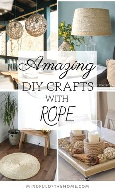 These DIY ideas using rope is all the inspiration you will need for your next crafts project. Check out these tutorials of some of the best DIY home decor using rope that's perfect for rustic and coastal home decor! #DIY #DIYhomedecor #DIYcrafts #cheaphomedecor Diy Craft Projects, Decor Crafts, Diy Home Decor, Diy Crafts, Diy Decoration, Diy Room Decor For Teens, Dollar Store Hacks, Dollar Stores, Rope Crafts