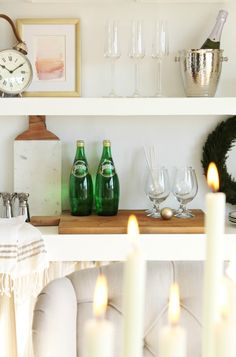 Create a Holiday Bar in Open Shelving/Champagne Glasses Birch Lane