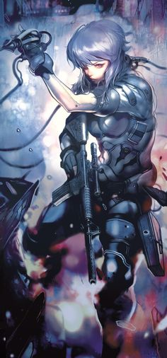 Cyberpunk, Future, Futuristic, Anime, Ghost in a Shell [artist name? I looked up the art but couldn't find the artist] Manga Anime, Masamune Shirow, Motoko Kusanagi, Sci Fi Characters, Fictional Characters, Arte Cyberpunk, Cyberpunk Anime, Ex Machina, Wow Art