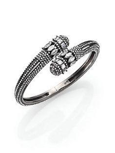 Adriana Orsini - Crowned Pavé Crystal Wrap Bracelet/Gunmetal