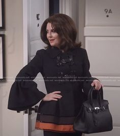 """Karen's Black Buckle Front, Bell Sleeve, Jacket  on """"Will & Grace"""" 