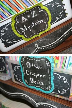 Chalk It Up! Chart Cards are perfect for enhancing bulletin boards, rooms, hallways, and common areas like classroom libraries! Organize books so students can easily find them and put them away. Chalkboard Classroom, Chalkboard Decor, Classroom Layout, 5th Grade Classroom, Classroom Labels, Classroom Organisation, New Classroom, Teacher Organization, Classroom Themes