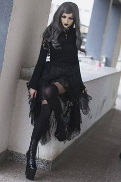 Soleil Noir Blouse by Punk Rave Nerissa Skirt by RQBL Bondage Shirt by Dead Threads Models: Obsidian Kerttu & Xul Shoes: Pleaser Boots. Gothic Outfits, Gothic Dress, Gothic Lolita, Victorian Goth, Gothic Steampunk, Mode Alternative, Alternative Fashion, Goth Beauty, Dark Beauty