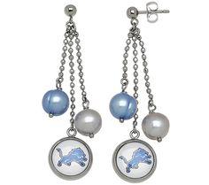 J341097 Honora NFL Stainless 8.0mm Cultured Pearl Dangle Earrings