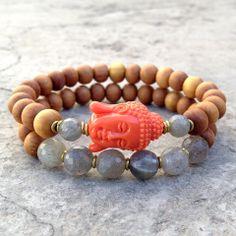 Sandalwood and Labradorite, Buddha bracelet stack. ©lovepray jewelry