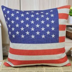 """18"""" X 18"""" American Flag the Stars and Stripes Decorative Cushion Cover :         .        Product name: Cushion Cover CC34  Size:18""""x18"""" (45cmx45cm)  Material: Linen Cotton  Hidden Zip closure  Cushion Cover only, Price is for 1pc.    Remarks:   1.The Printing is in the front, no printing only natural color of linen in the back.  2.All cushions are handmade, so please ...Check Price >> http://gethotprice.com/appin/?t=B008ABCVNU"""