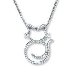 This charming cat necklace for her is crafted of sterling silver. Diamond accents complete the look. The pendant sways from an 18-inch box chain that fastens with a spring ring clasp.