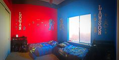 Twin boys bedroom, who didn't want same color wall paint. Paint colors: SW Real Red and SW 6803 Danube