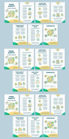 Flyer, booklet, leaflet print design with linear icons. Vector page layouts for magazines, reports, advertising posters. Leaflet Layout, Booklet Layout, Leaflet Design, Flyer Layout, Brochure Layout, Poster Layout, Brochure Template, Booklet Template, Brochure Food
