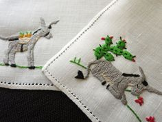 DONKEY ESCAPES WORK, FINDS HAPPY PLACE Hand Embroidery Linen 6 Cocktail Napkins